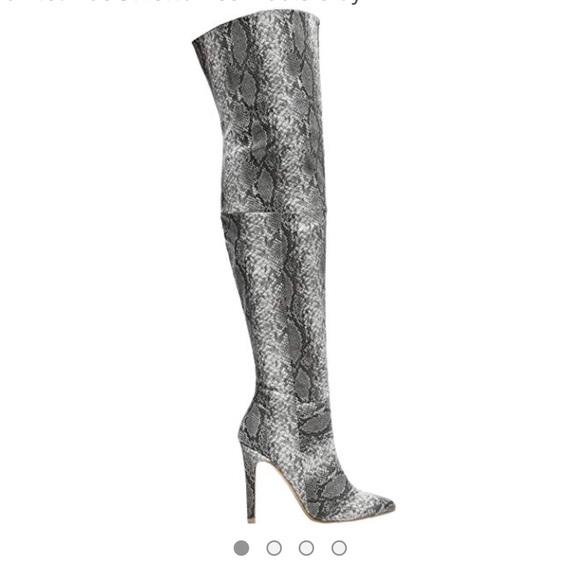 8449b62d0c4 Thigh High Snakeskin Point Toe Stiletto Heel Boots